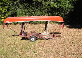 conversion to carry a canoe on a utility grailer